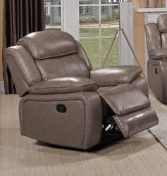 FURNITUREMATTRESSDIRECT-LEATHER RECLINER CHAIR IN STONE A-AC118