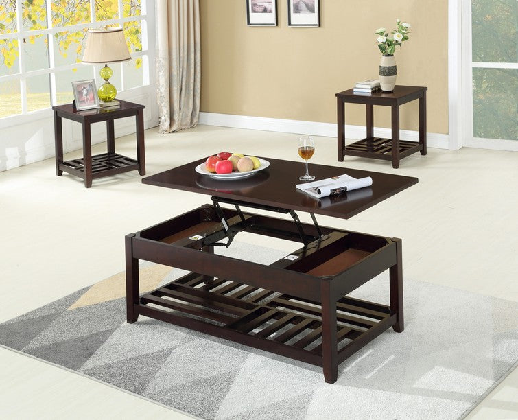 FURNITUREMATTRESSDIRECT-Coffee Table Set with Lift Top - 3 pc - Espresso A-CT101