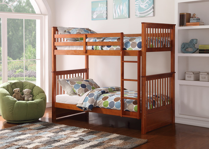 furnituremattressdirect-Mission Bunk Bed in Honey - INTBBED602