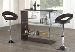 BAR SET WITH STOOLS - 3 PC - BLACK