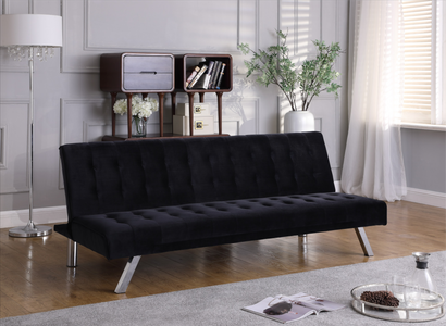 Sofa Bed with Chrome Legs in Black