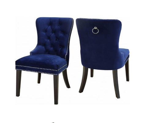 furnituremattressdirect-VELVET DINING CHAIR IN NAVY BLUE- INT-CHA111