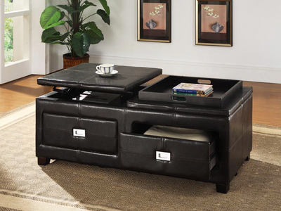 FURNITUREMATTRESSDIRECT-COFFEE TABLE WITH SERVING TRAY DRAWER AND LIFT OFF STORAGE- NATSTOBE890