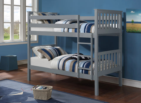 Twin/Twin Bunk Bed  -Grey