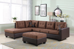 FURNITUREMATTRESSDIRECT-EASY RIDER SECTIONAL SET-DARK BROWN FINISH -INTSECTIONAL110