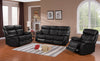 furnituremattressdirect-3-PC SOFA RECLINER SET IN LEATHER- BLACK IN CONTRAST STITCHING -A-SS108
