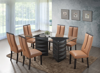 FURNITUREMATTRESSDIRECT-DINETTE SET WITH TEMPERED GLASS IN ESPRESSO H-KS106