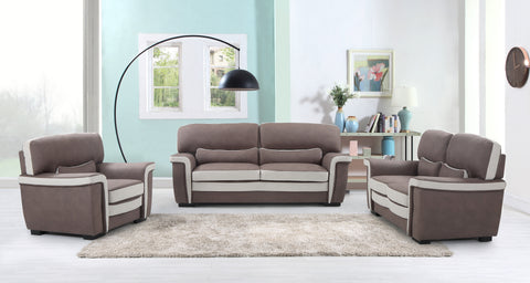 FURNITUREMATTRESSDIRECT-3-PIECE SOFA SET IN LIGHT BROWN A-SS120