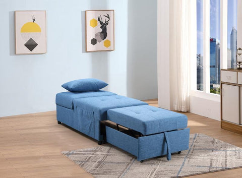 Image of Convertible SofaBed Chair-Blue