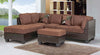 Sectional Set With Chaise and Ottoman (Brown & Black)-Reversible