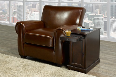 FURNITUREMATTRESSDIRECT-Chairside End Table With Power in Espresso ET101