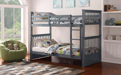 FurnitureMattressDirect-Bunk Bed - Twin over Twin Solid Wood - Grey | White | Espresso | Honey-A4