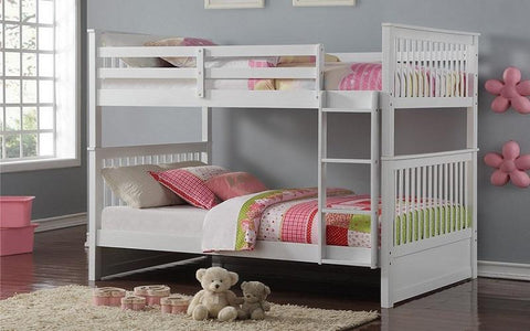 Image of FurnitureMattressDirect-Bunk Bed - Double over Double Mission Style with or without Drawers Solid Wood - White