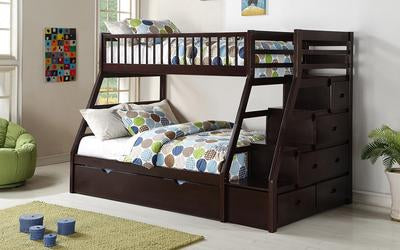 FurnitureMattressDirect-Bunk Bed - Twin over Double with Trundle, Drawers, Staircase Solid Wood - Espresso-LSSSS