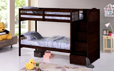 Image of FurnitureMattressDirect-Bunk Bed - Twin over Twin or Double with Drawers, Staircase Solid Wood - Espresso