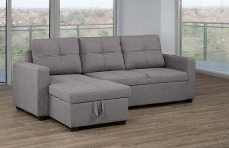 SECTIONAL WITH PULL-OUT BED & STORAGE CHAISE, GREY