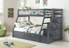 Bunk Bed - Twin over Double with Trundle, Drawers, Staircase Solid Wood - Grey-PILBBED334