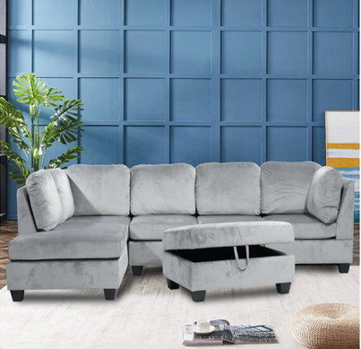 Grey Velvet Reversible Sectional Set