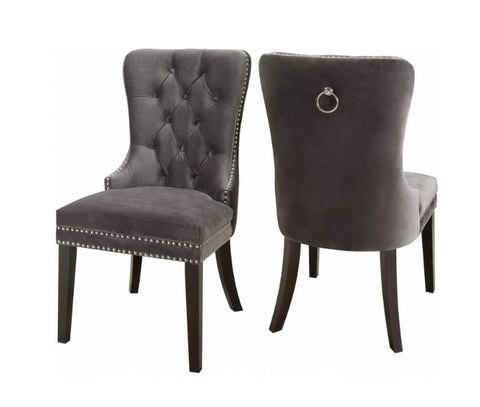 Image of FURNITUREMATTRESSDIRECT-VELVET DINING CHAIR IN GREY - INT-CHA112