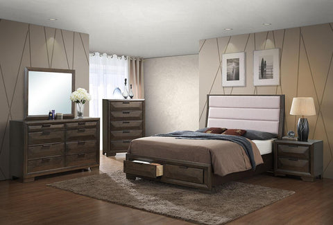 7Pcs Bedroom Set with Storage Drawers in Footboard and an Upholstered Headboard- Queen Size