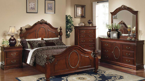 King Bedroom Set-8 Piece in Brown