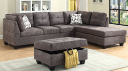 TUFTED SECTIONAL IN DARK BROWN