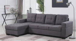 FURNITUREMATTRESSDIRECT-SECTIONAL SET -FABRIC IN GREY A-SL106