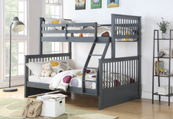 TWIN/DOUBLE DETACHABLE SOLID WOOD BUNK BED (GREY)