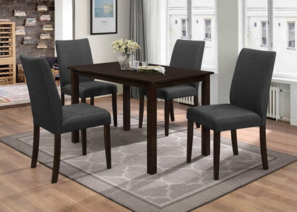 FURNITUREMATTRESSDIRECT-DINETTE SET WITH UPHOLSTERED FABRIC CHAIR WITH ESPRESSO TABLE H-KS142