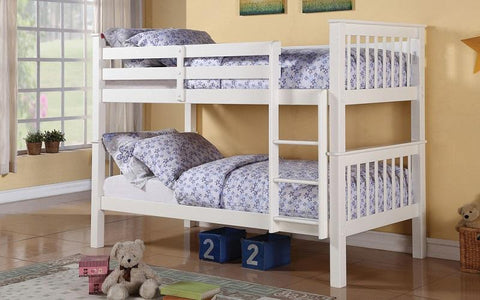 Image of FurnitureMattressDirect-Bunk Bed - Twin over Twin Solid Wood - Espresso | White | Oak-B1