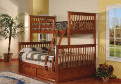 TWIN/DOUBLE DETACHABLE SOLID WOOD BUNK BED WITH 2 DRAWERS (WALNUT)