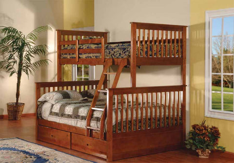 Twin/double Detachable Solid Wood Bunk Bed With 2 Drawers