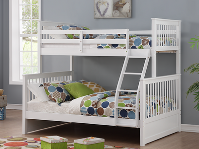 Twin Over Double Bunk Bed in White