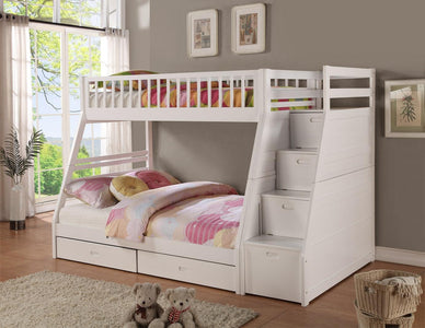 Twin / Full Wooden Bunk Bed with Storage staircase- White