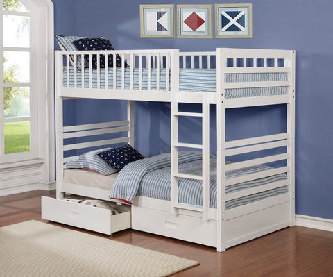 Bunk Bed - Twin over Twin with 2 Drawers Solid Wood - White