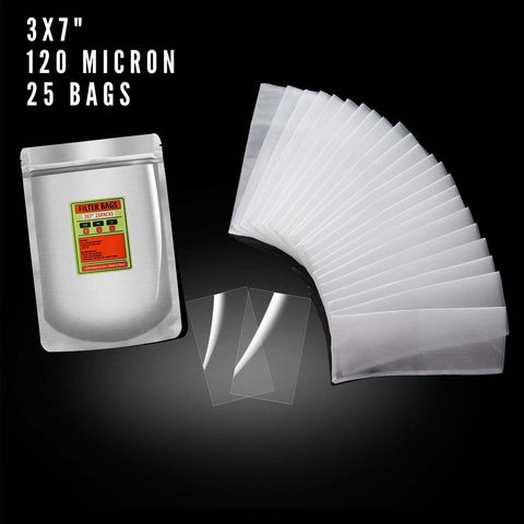 "Dabpress 3x7"" Nylon Rosin Heat Press Extraction Filter Bags 120 Micron (25 pack) - 13Leafz"