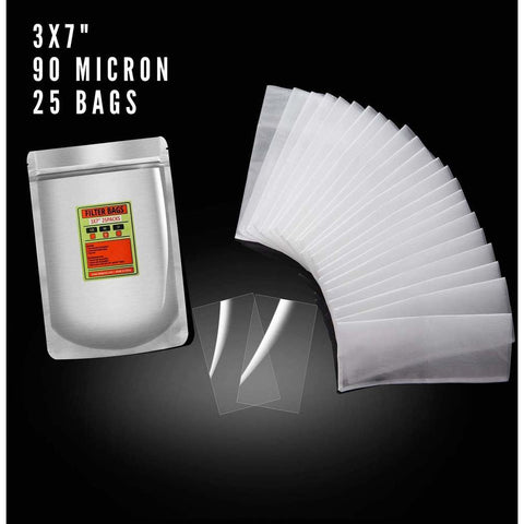 "Dabpress 3x7"" Nylon Rosin Heat Press Extraction Filter Bags 90 Micron (25 pack) - 13Leafz"