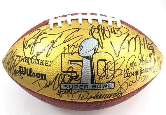 Denver Broncos 2016 Team Signed Super Bowl 50 Game Football THE DUKE