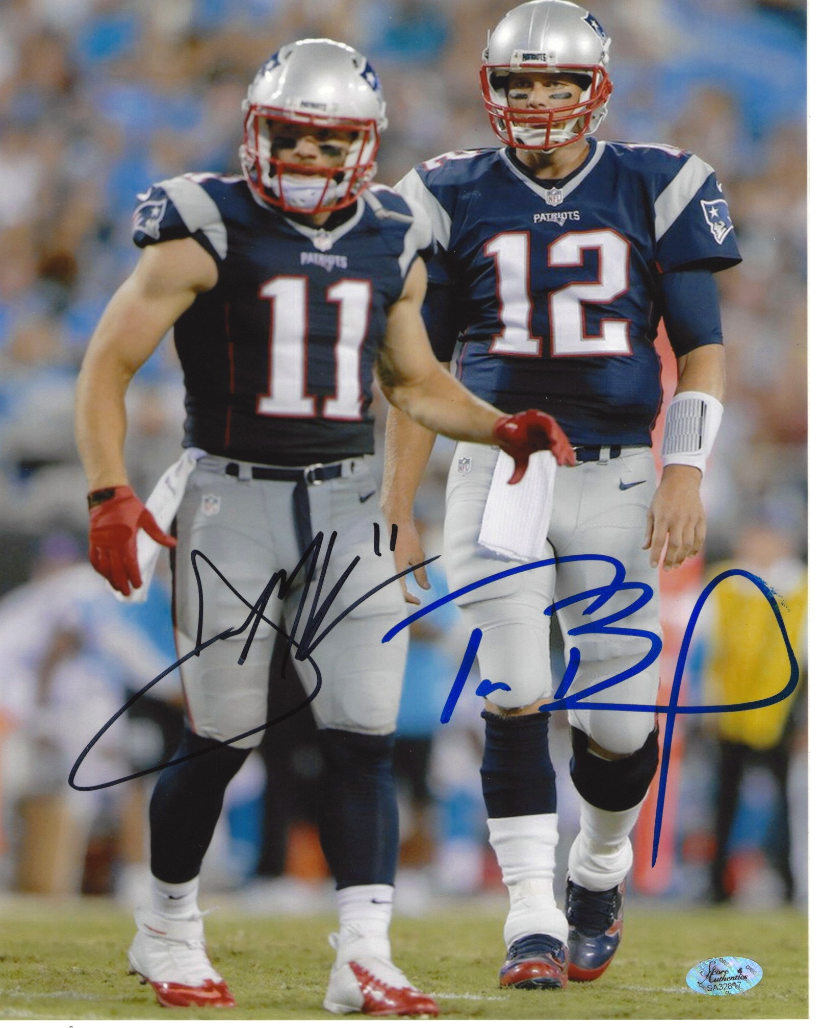 NE Patriots Julian Edelman & Tom Brady Autographed 8x10 Photo
