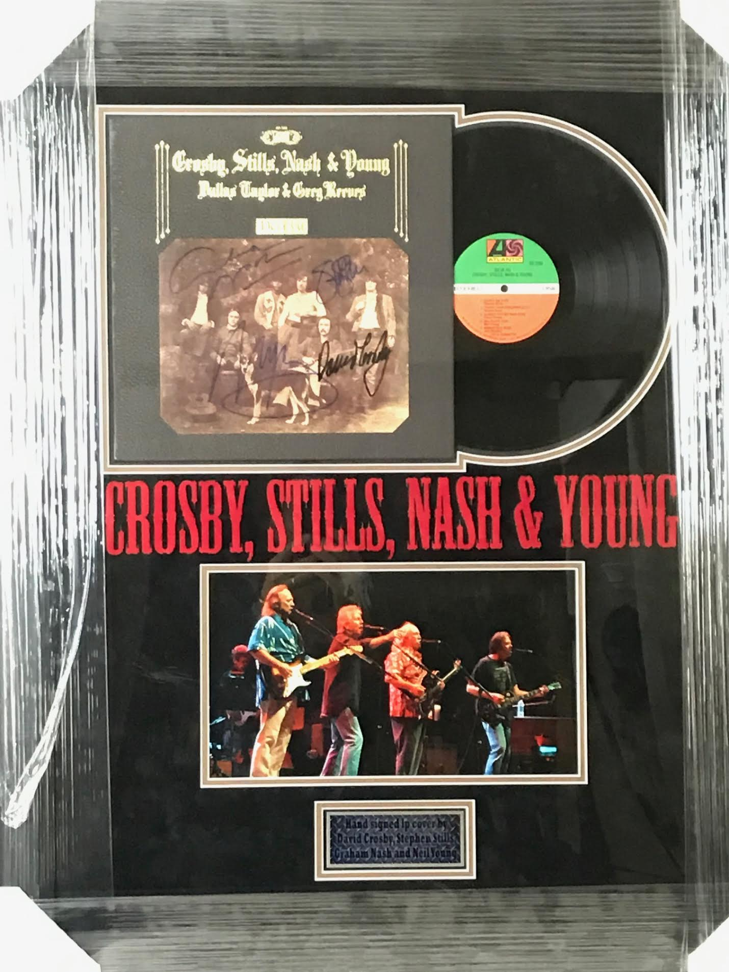 "Crosby Stills Nash & Young "" Deja Vu"" Autographed Album Cover Custom Fram"
