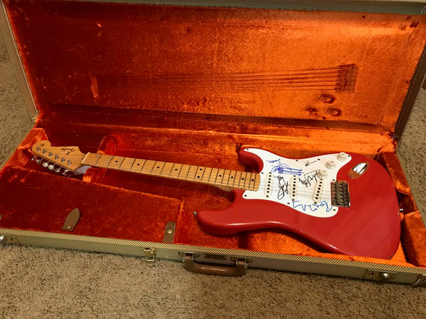 rolling stones band autographed 1956 fender stratocaster relic guitar