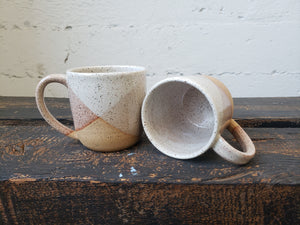 Cappuccino Mug - Rust/White Criss Cross