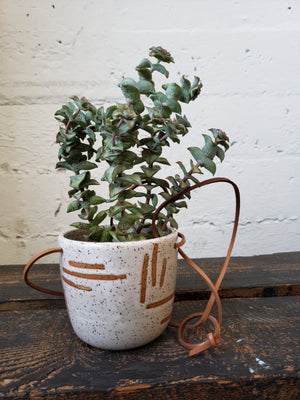 Hanging Planter - Speckled Geometric Lines