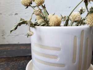 Tabletop Planter - White Geometric Lines