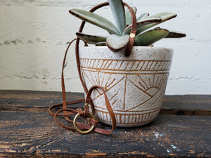 Hanging Planter - Speckled White Suns and Mountains