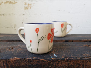 Cappuccino Mug - Poppies w/Blue Rim