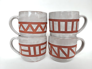 Cappuccino Mug - Grey and Brown Geometric