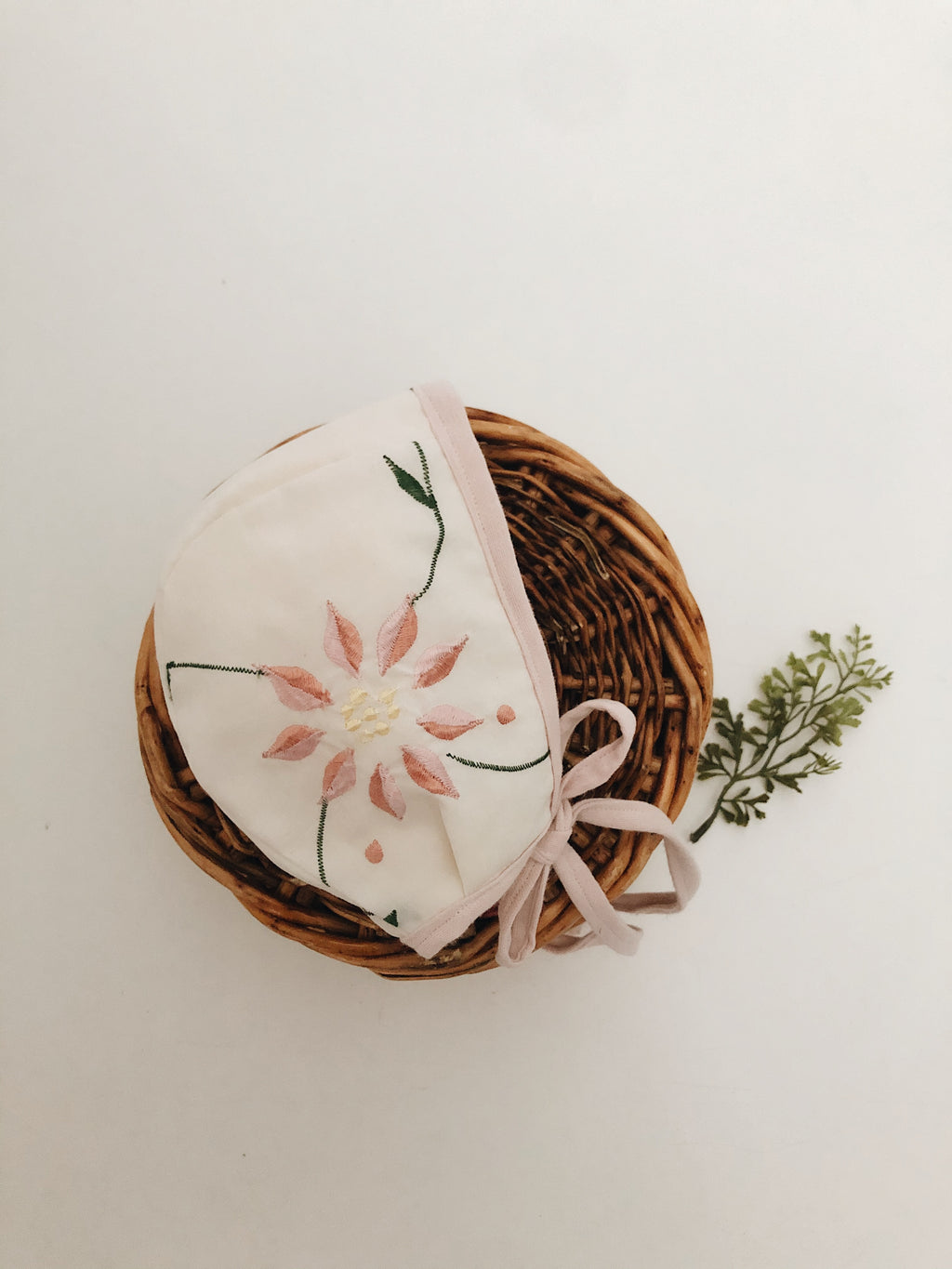 Embroidered floral bonnet