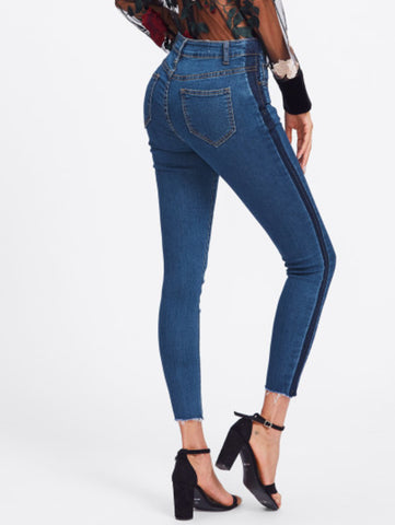 Striped Frayed Hem Jeans