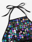 Sequin Knot Back Halter Top